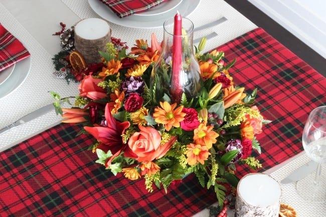 A tartan Thanksgiving tablescape