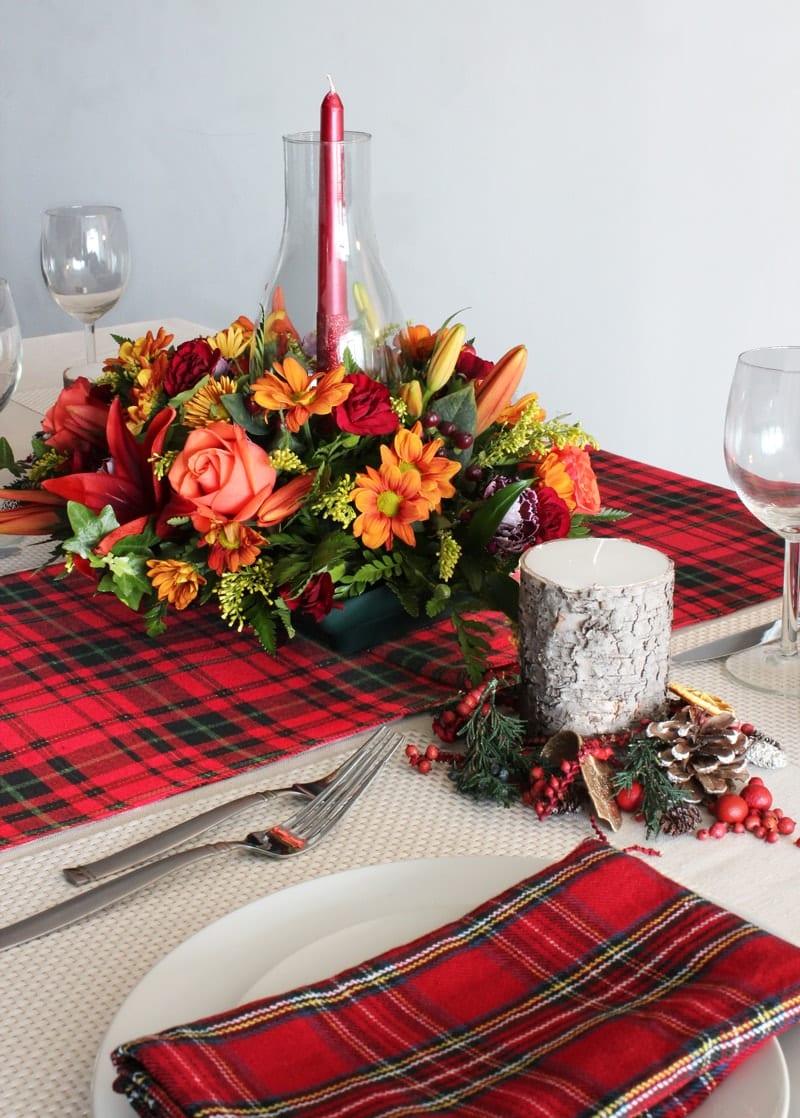 Home Decor - Tartan Thanksgiving tablescape