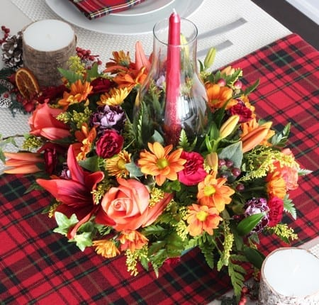 A tartan Thanksgiving tablescape
