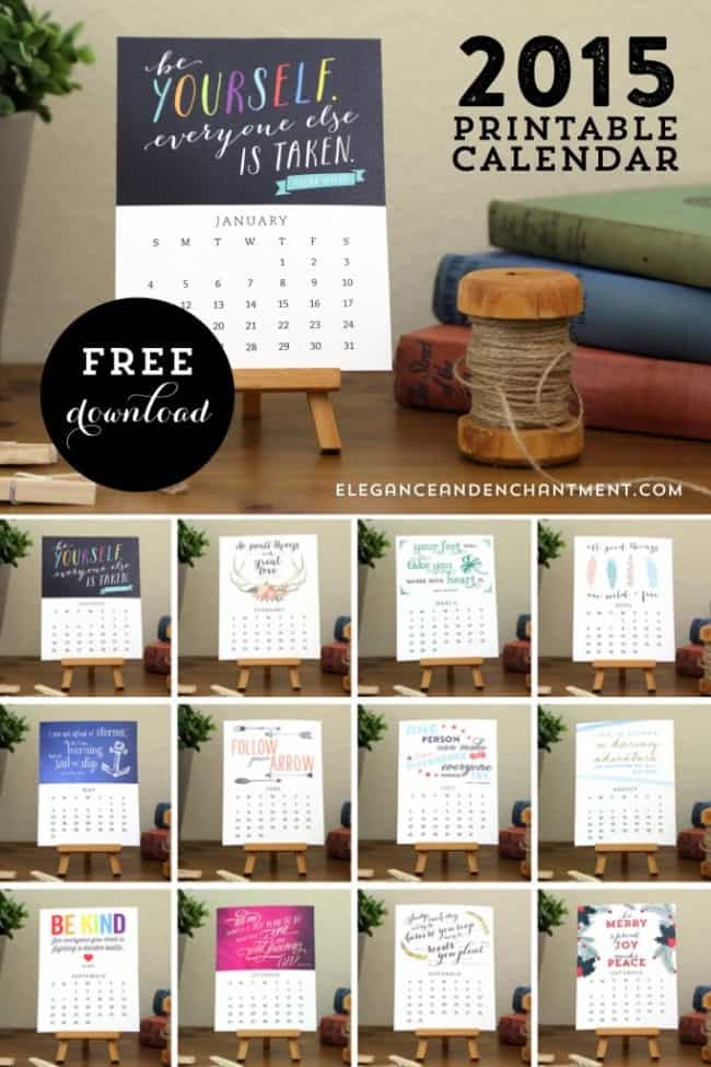 Calendar Inspiration 2015 : Free printable calendars to ring in the new year