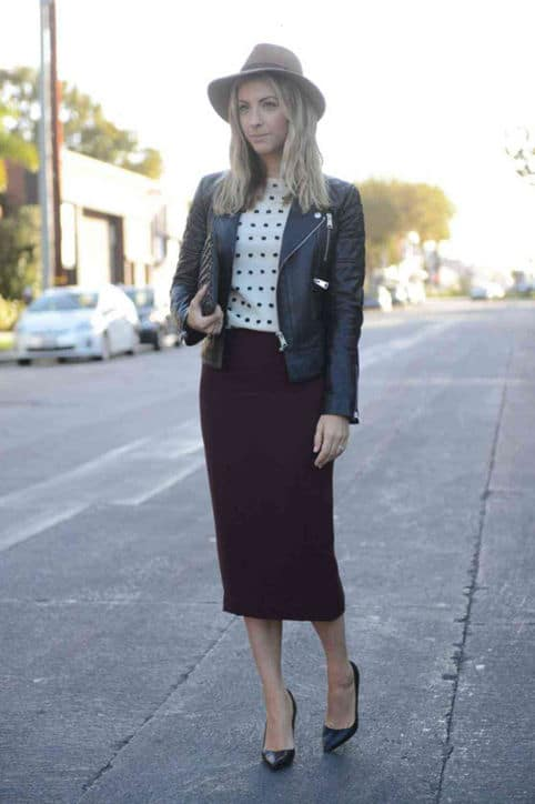 Pairing your pencil skirt with an edgy moto jacket is a great way to make the workwear favorite a bit more youthful. Read on for more fall style ideas...