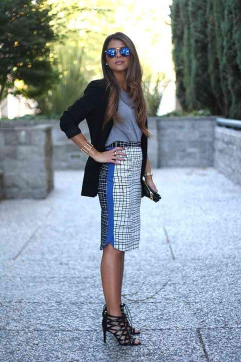 Pairing a t-shirt with pencil skirts never looked so chic.