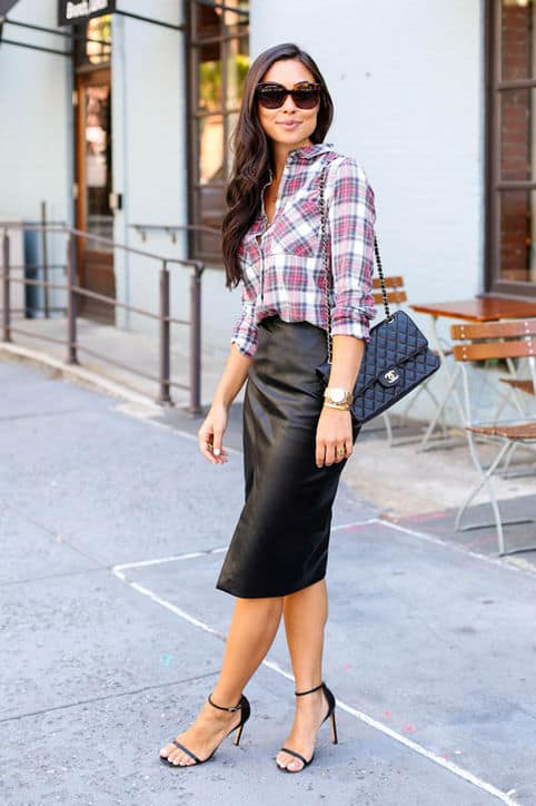 Love this pairing! A leather pencil skirt and plaid button down.