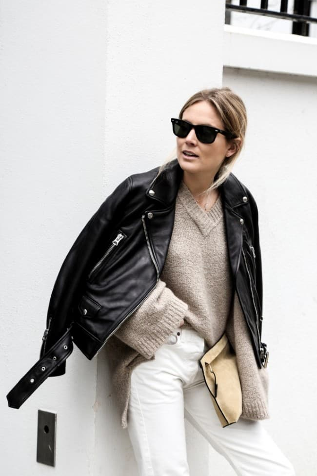 Fall look with white jeans and leather jacket - Fashion Me Now