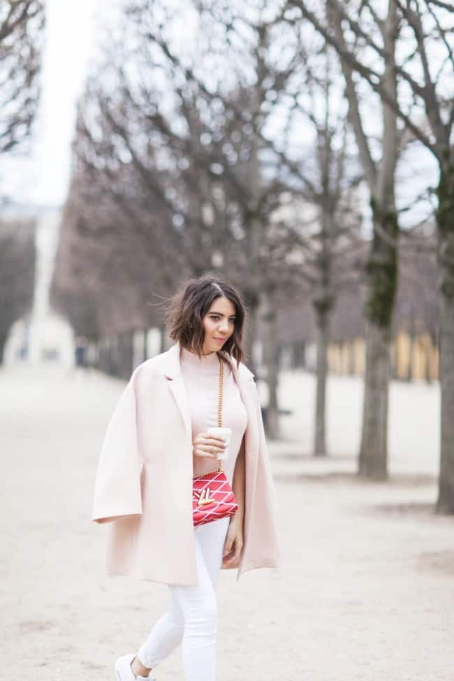 white jeans and pink coat - Five Five Fabulous
