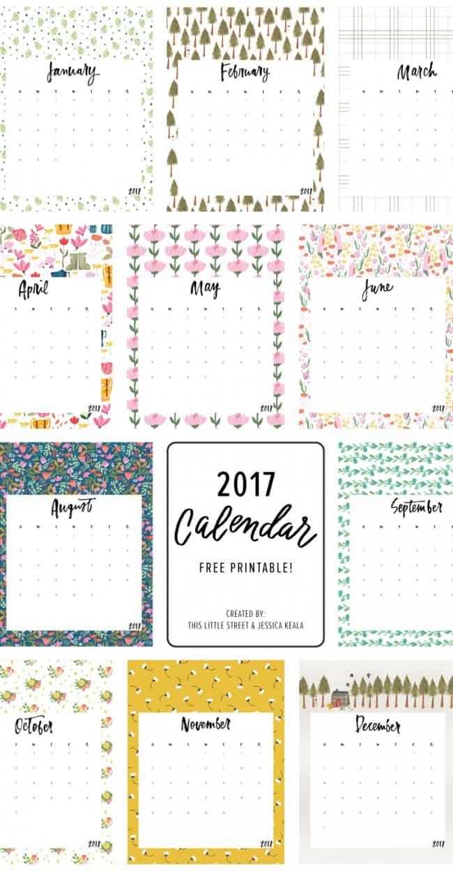 Free Cute Calendar Templates | 25 Free Printable Calendars For 2017