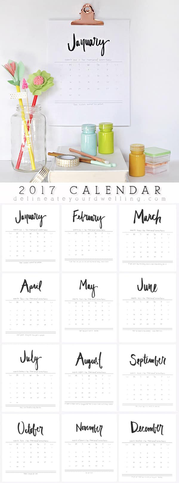 2017 Hand lettered Calendar - Delineate Your Dwelling