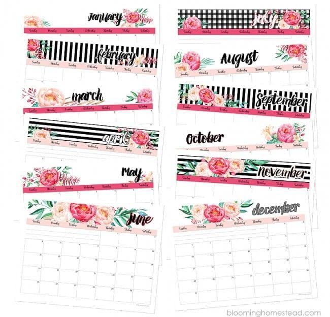 Chic Printable Calendar - FREE download