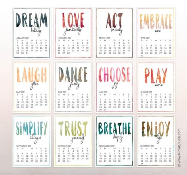 Inspirational calendar - Ninka Studio