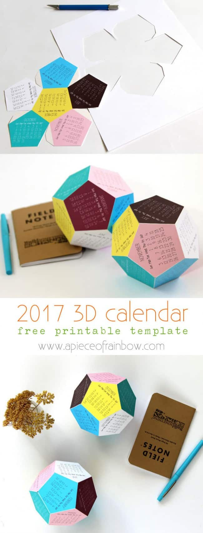 3D 2017 Printable Calendar - A Piece of Rainbow