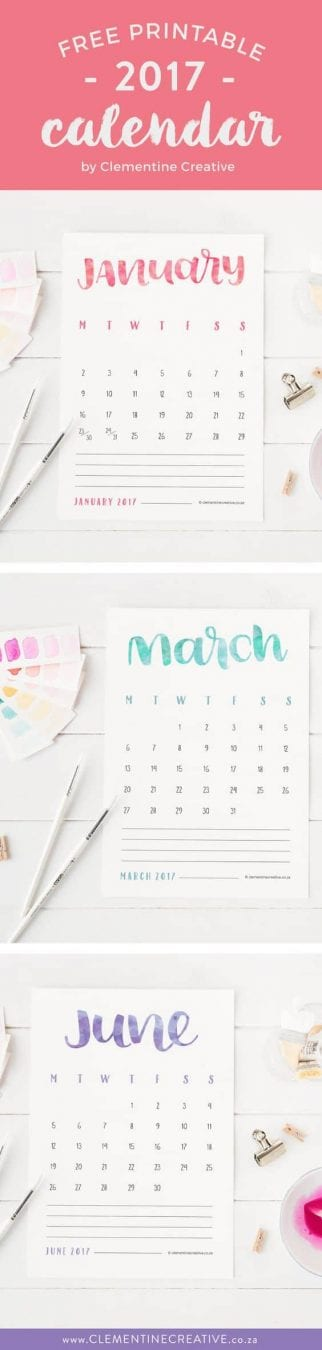 Free Printable {Hand Lettered} 2017 Calendar - Dress up your desk! by Clementine Creative
