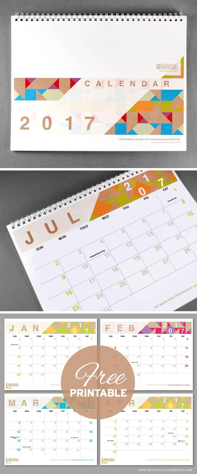 geometric free printable calendar - Printable Printable
