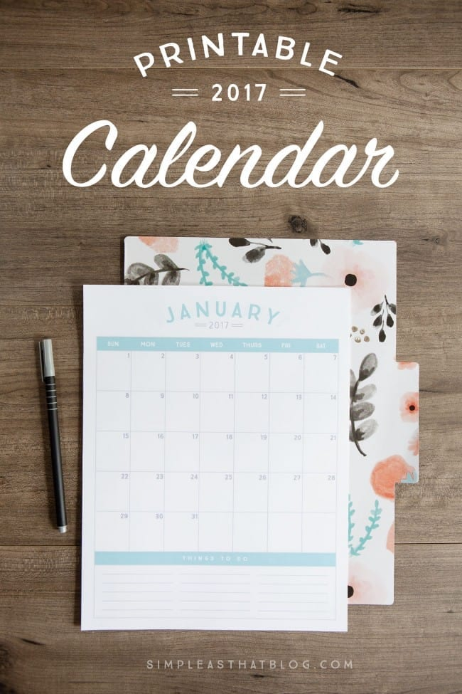Simple as That 2017 Printable Calendar