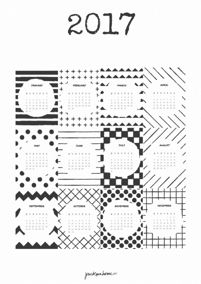 Black and white graphic calendar