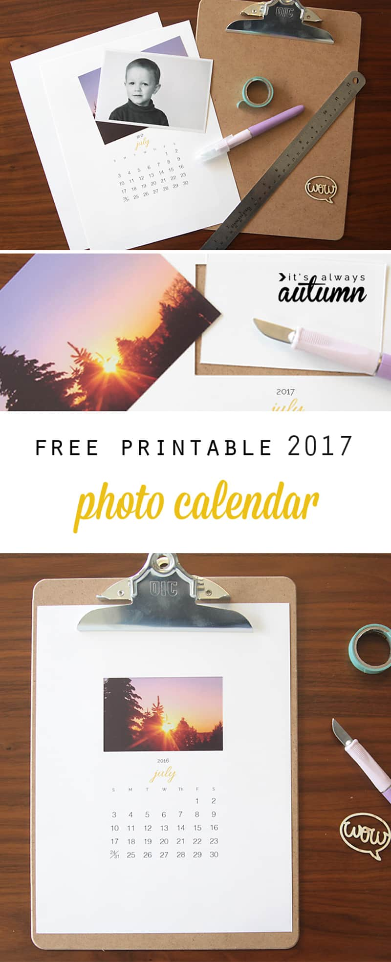 DIY photo calendar - FREE printable