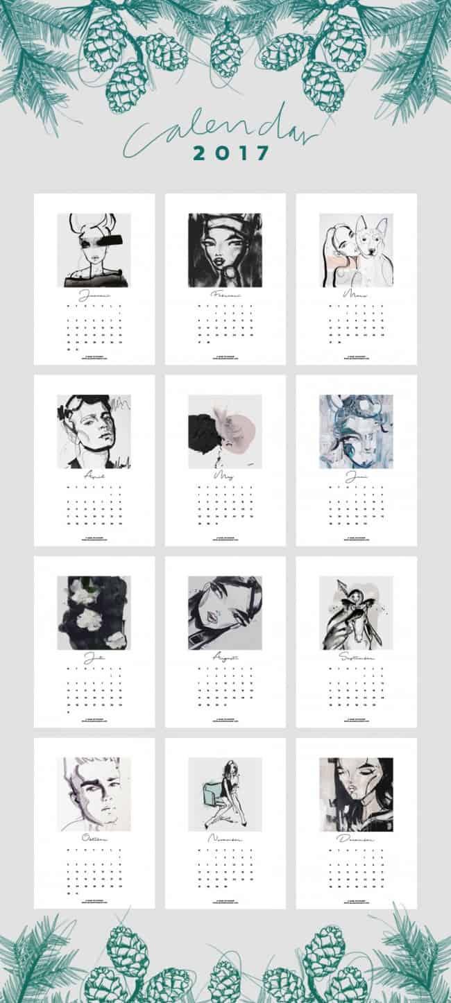 FREE printable - 2017 watercolor calendar