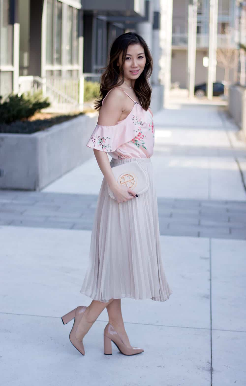 Spring Streetstyle: Pretty pleated skirt and floral print top from LC Lauren Conrad Dress Up Shop