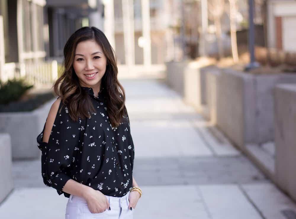 Cute peek a boo shoulder blouse from LC Lauren Conrad