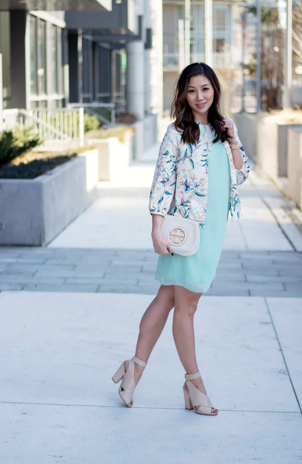 Spring streetstyle: Spring dress and floral bomber from LC Lauren Conrad Dress Up Shop, Special occasion dressing like wedding guests, showers, birthday parties, engagement parties etc.