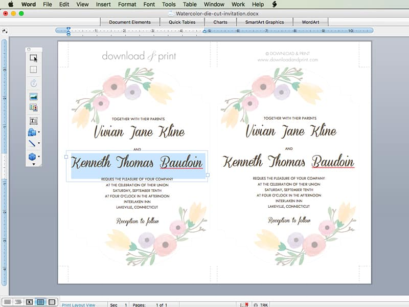 Step by step instructions for DIY wedding invitation. Pretty watercolor flower wedding invitation. FREE template and download.