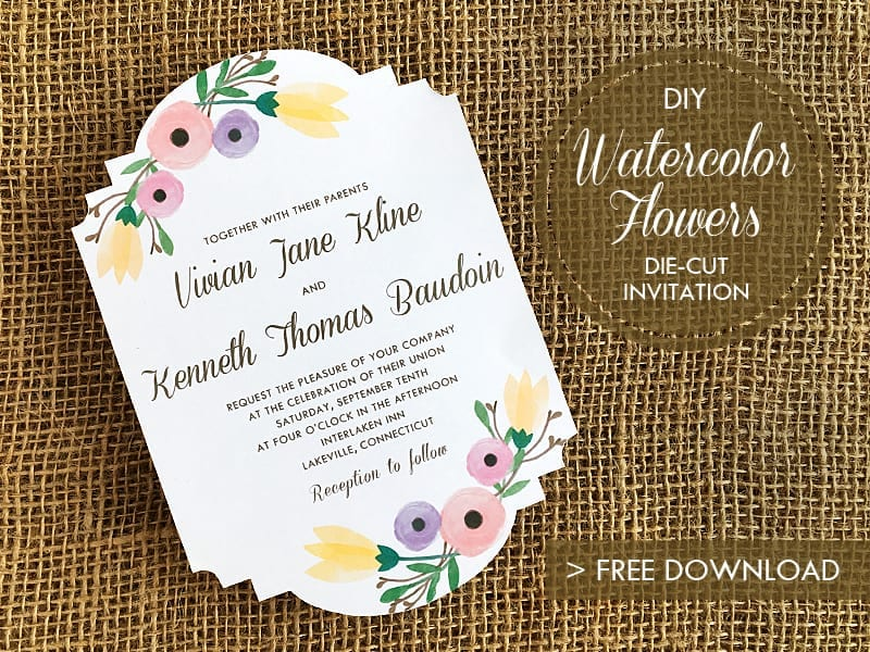 Pretty watercolor flower wedding invitation. FREE template and download