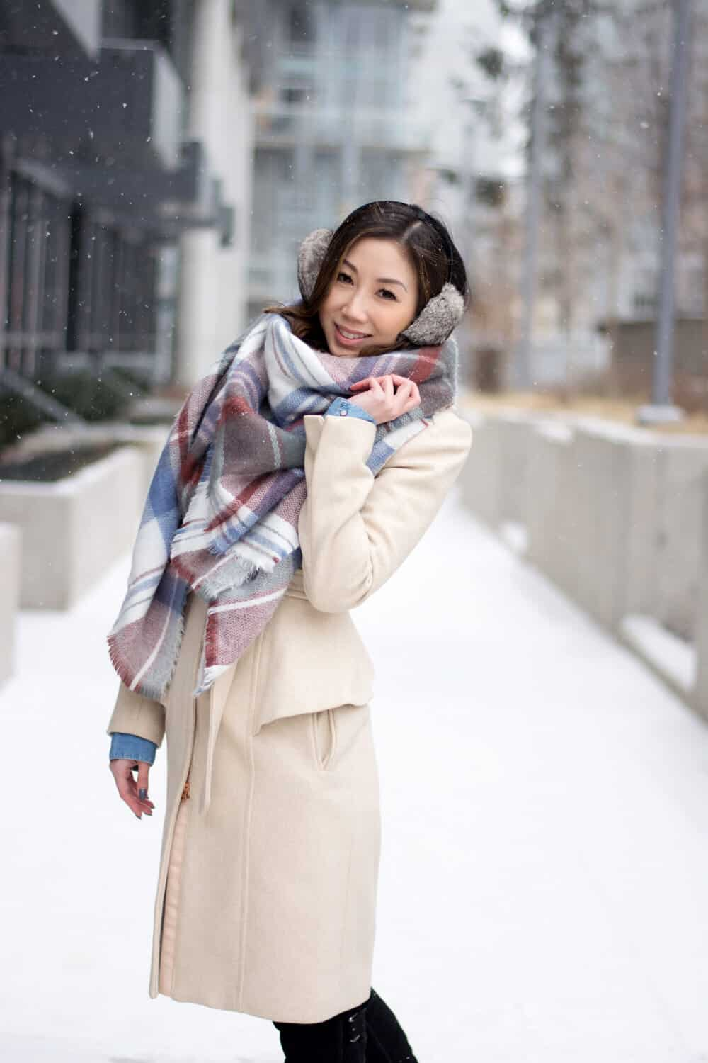 Snow day: long cool coat and soft plaid scarf. So cute!