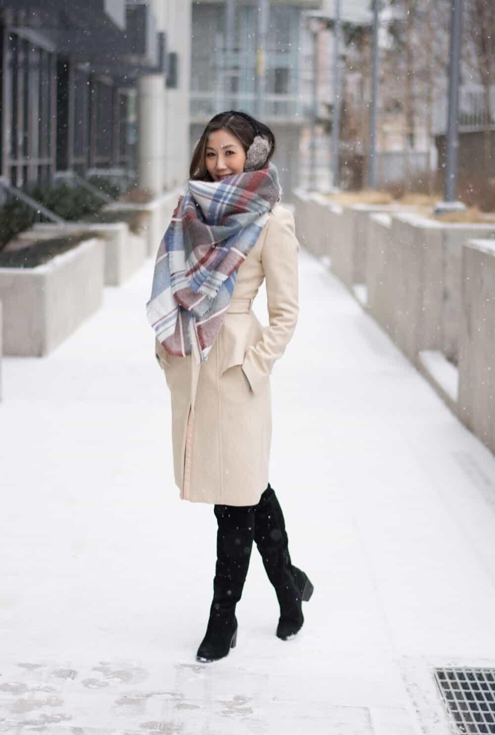 Cosy Winter look: zara scarf and hm wool coat, fur ear muffs.