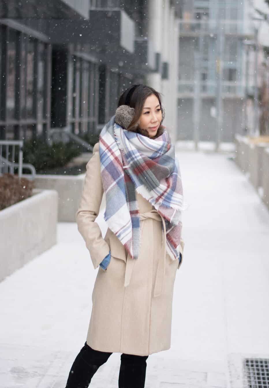 Cute Winter OOTD streetstyle look: plaid scarf and beige wool coat