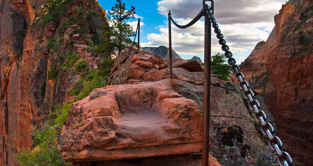 ANGELS LANDING There's no view more dramatic than what you see hanging onto a chain bolted into a cliff.