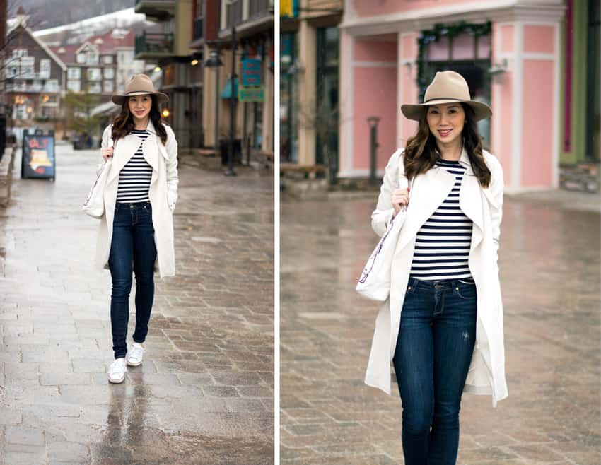 Blue mountain getaway, rainy day street style