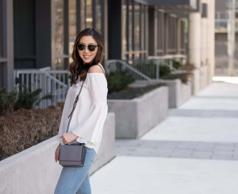 Summer Street Style: Levis Mile High Jeans, bell-sleeve top, and Kendall + Kylie bag