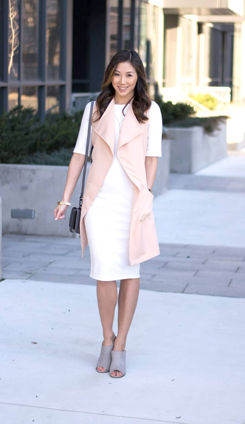 Spring look from SHEIN.com: white dress and pink long vest. Love this pink vest, only $20