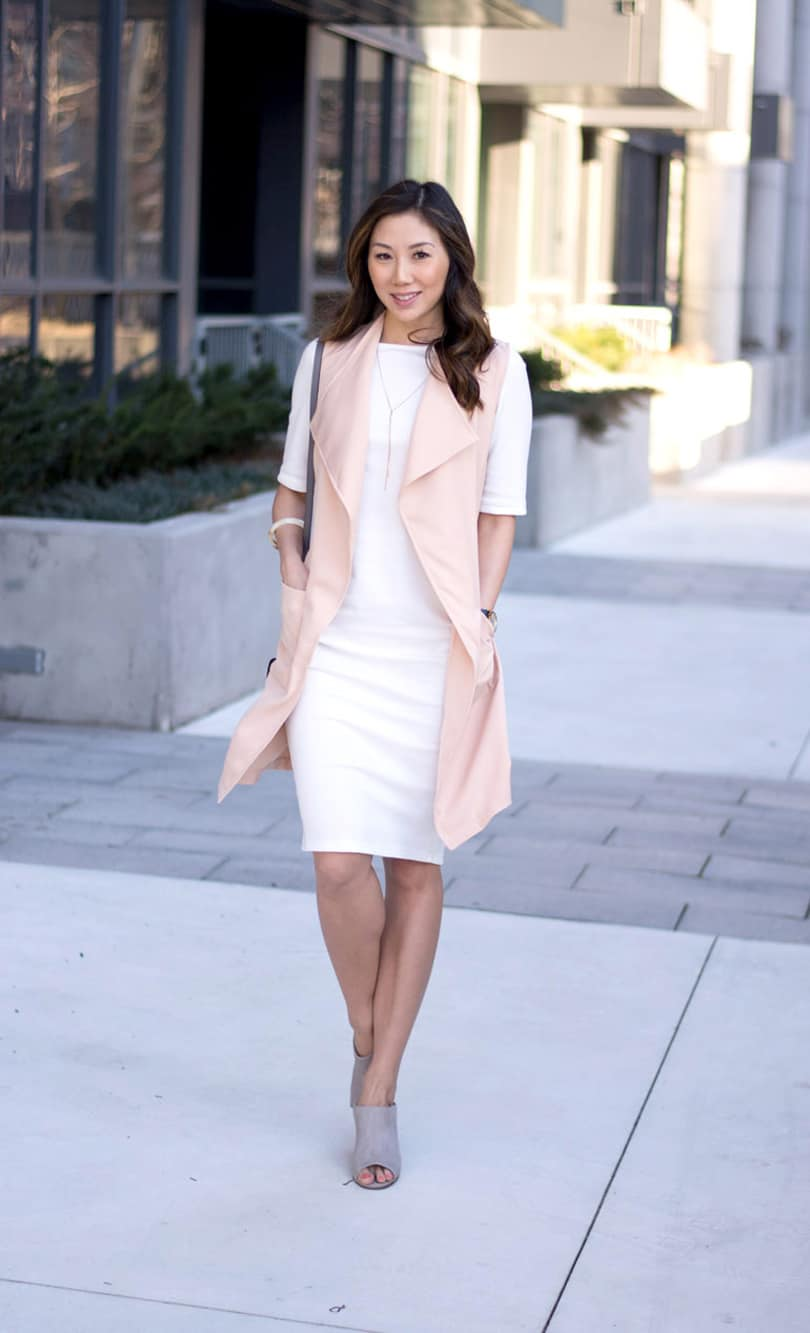 Fashion blogger style - Spring look with white dress and pink vest. Love this pink vest!! only $20