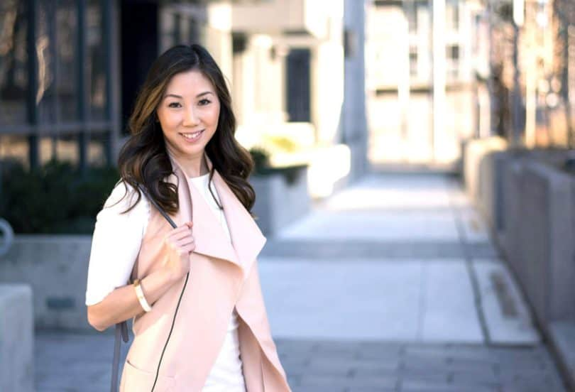 Fashion blogger style - Spring look with white dress and pink vest.