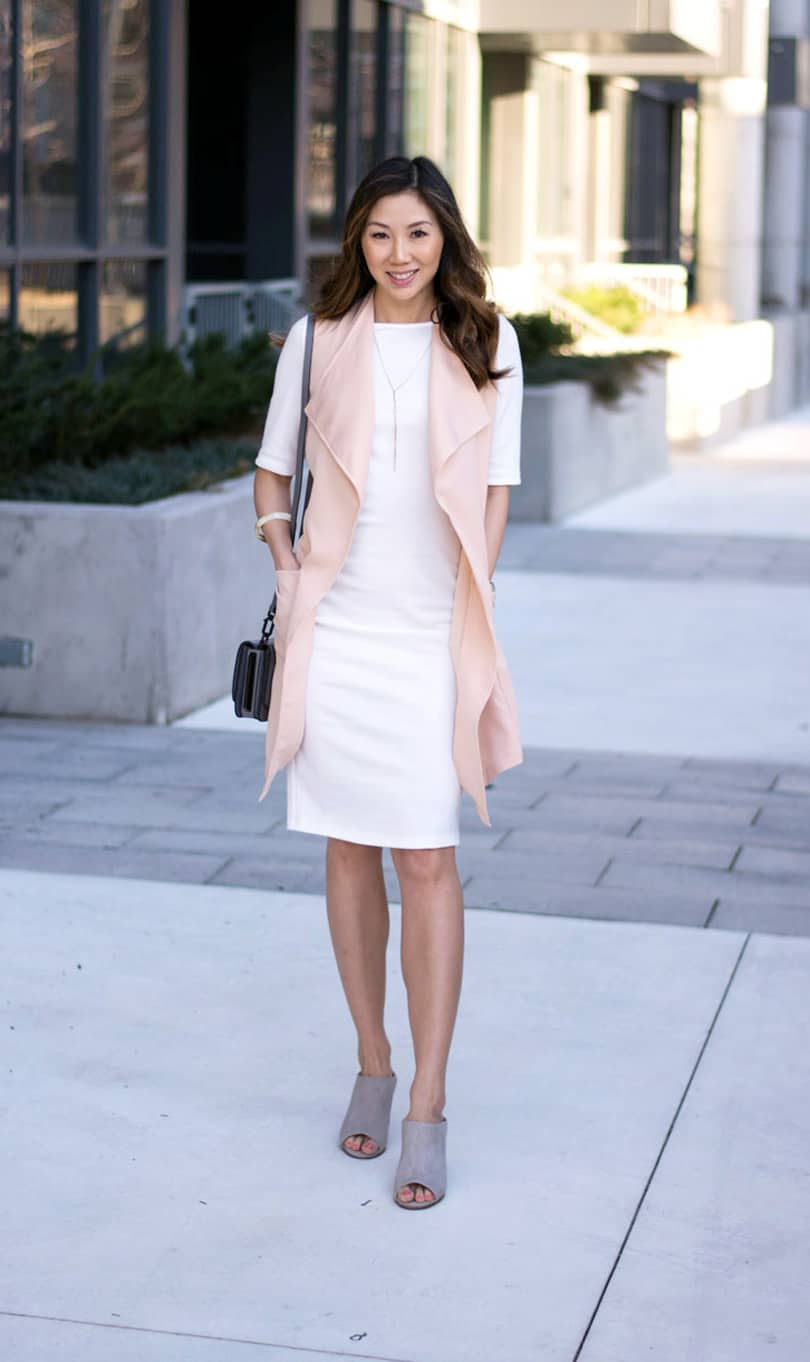 Spring/Summer look from SHEIN.com: white dress and pink vest. Love this pink vest, only $20