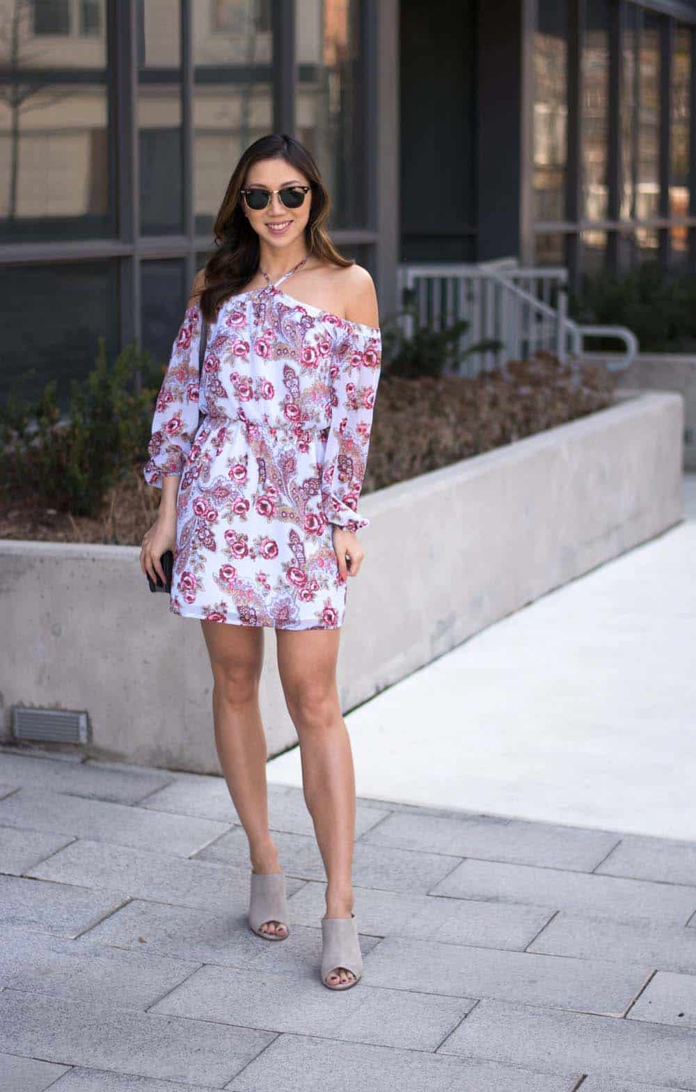 Street Style: floral cold-shoulder dress with grey mules, and Kendall + Kylie bag