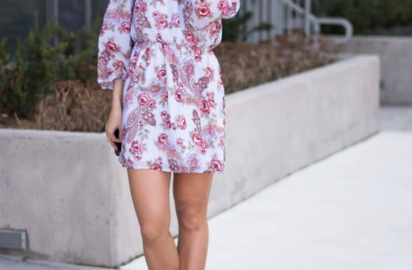 Spring Style: floral cold-shoulder dress with grey mules, and Kendall + Kylie bag