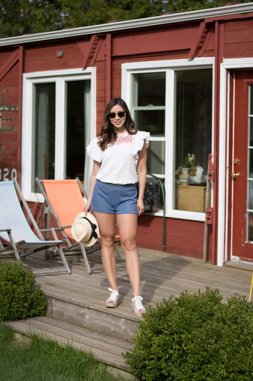 Casual summer look with peasant blouse and terry cloth shorts