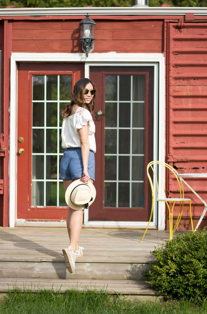 Cute casual summer look with peasant blouse and terry cloth shorts