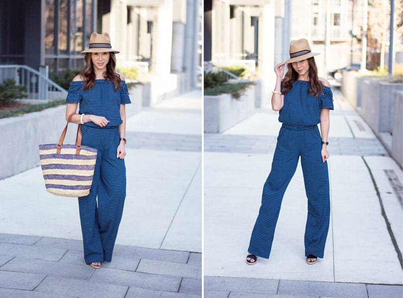 Summer streetstyle: striped jumpsuit, straw bag and hat