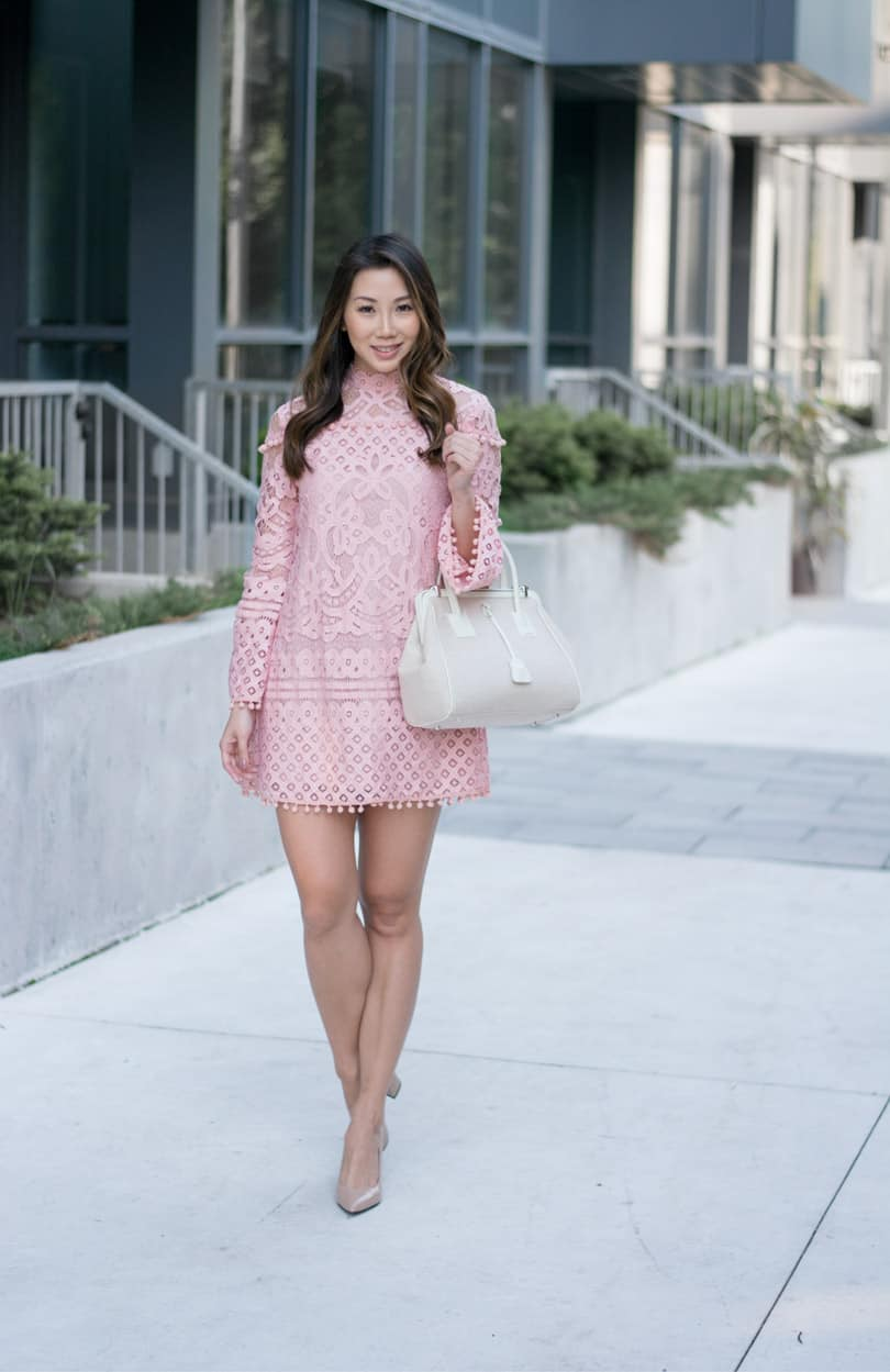Pink pom-pom lace dress with bell sleeves. So cute and only $24!!!