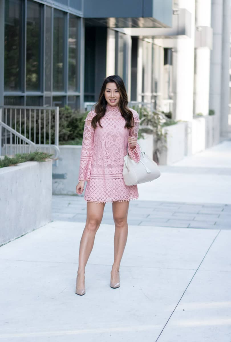 One of my favorite dresses is back in stock: pink pompom lace dress with bell sleeve only $24