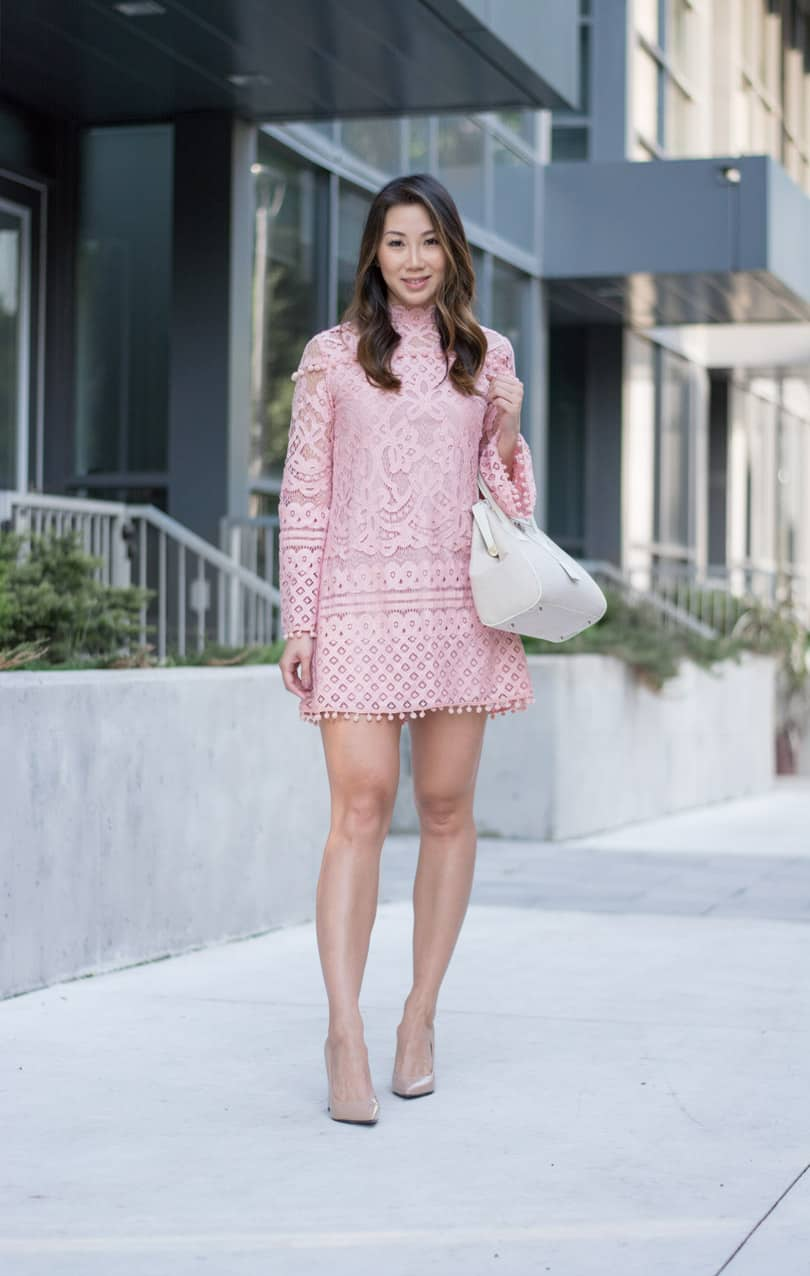 Summer OOTD: pink pompom lace dress with bell sleeves. So pretty and romantic!