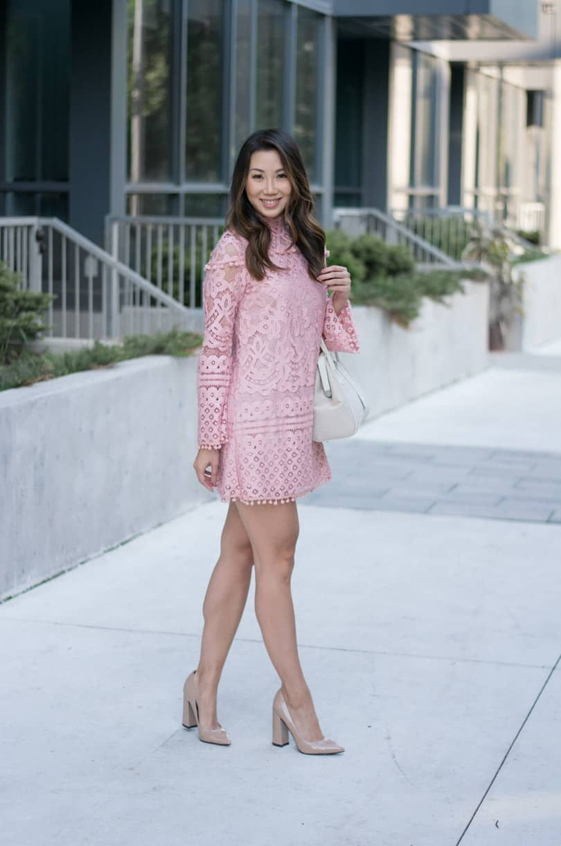 Can't get over these pretty details: Pink pompom lace dress with bell sleeves. Want it!