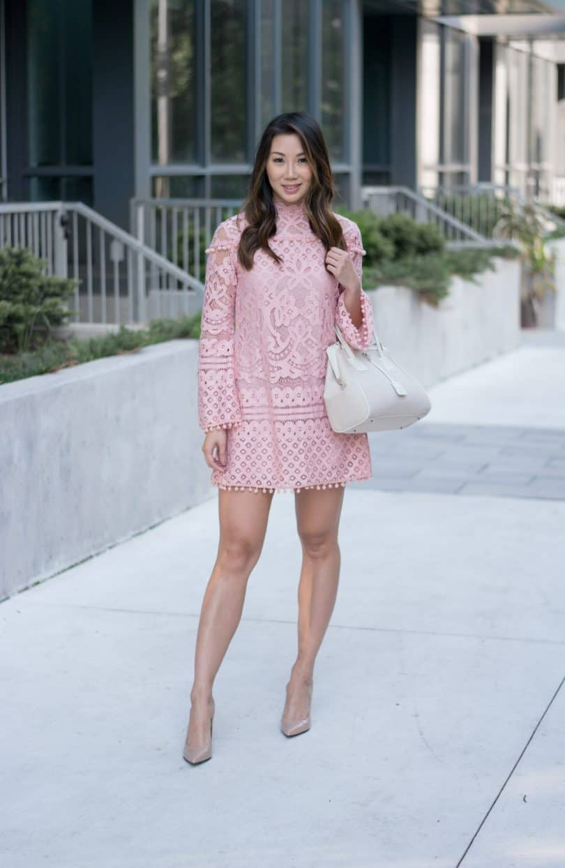Obsessed with this Pink pompom lace dress with bell sleeves. LOVE it!