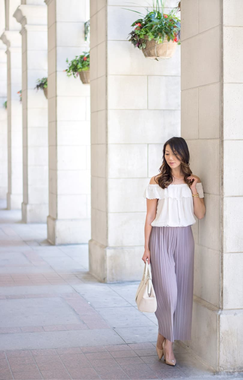 OOTD style: summer street style look with pastel culottes and peasant blouse
