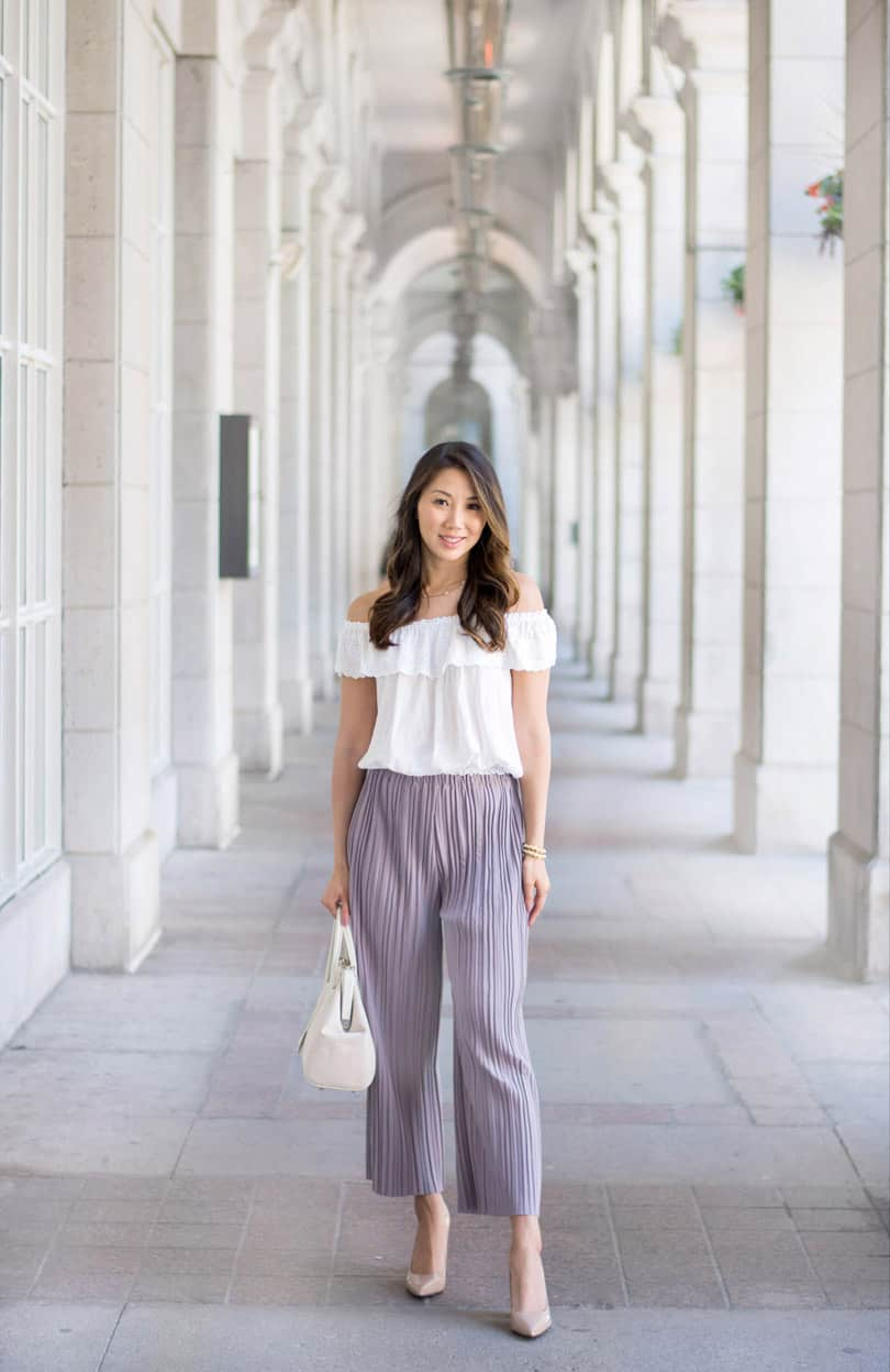 Look of the day: Culottes and off shoulder top, so pretty for summer and comfy too