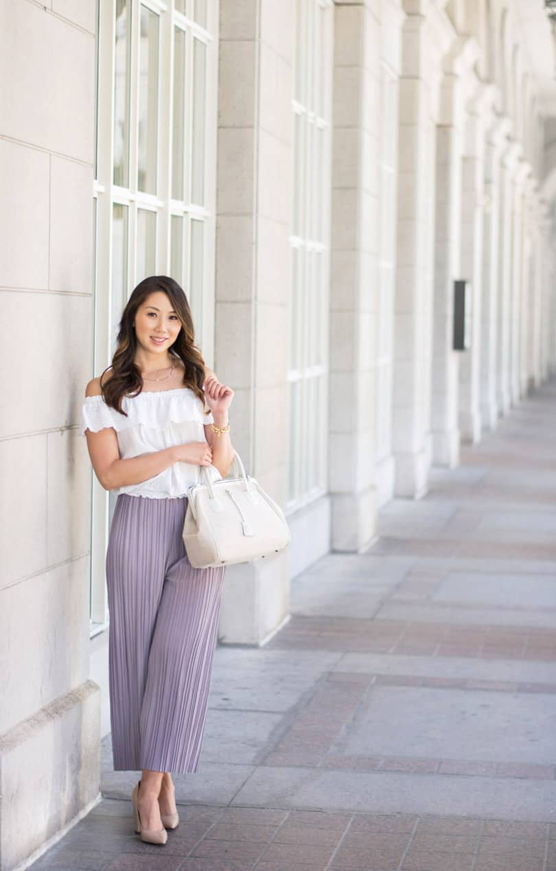 Summer street style look: Pastel wide leg cropped pants from Romwe, OTS top from Zara