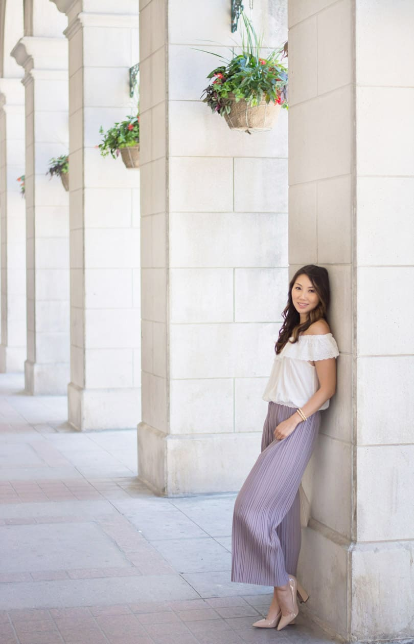 Style blogger: Pleated wide leg pants and flowy off the shoulder peasant blouse