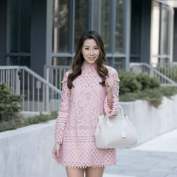 the pink trend is real! love this pink lace pom pom dress!